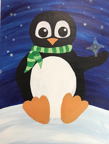 Penguin with Snowflake Canvas
