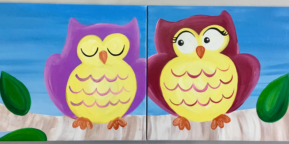A Doodler and a Dot: Family Owl Canvas Painting Workshop