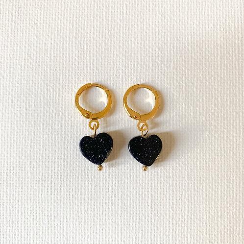 Small Hoop Heart Blue Goldstone