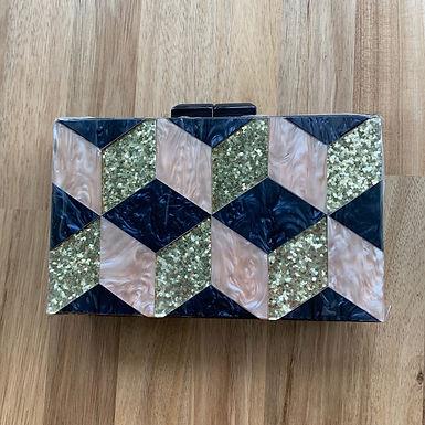 Geometric glitter clutch