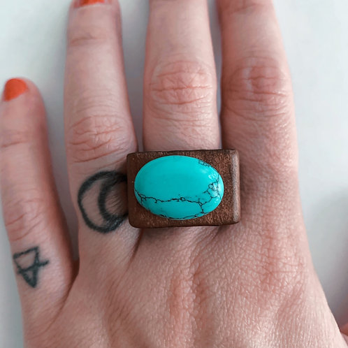 Blue Turquoise with wood