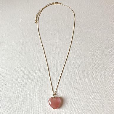 Gold Plated  Cherry Quartz Heart