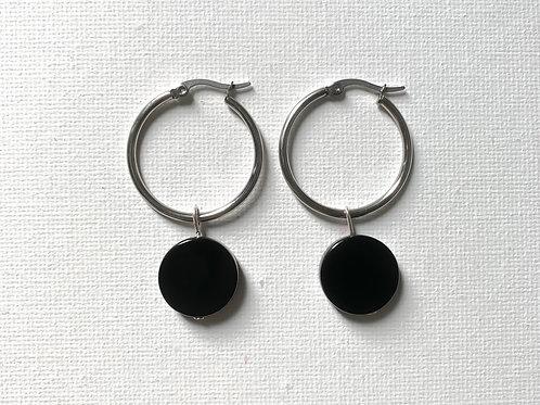 Black Agate with hoop