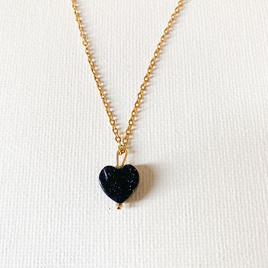 Stainless Steel Blue Goldstone Heart Golden