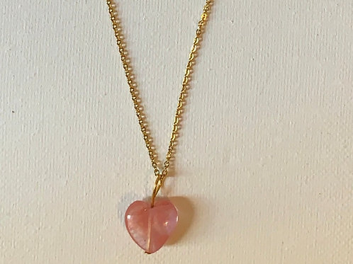 Cherry Quartz Heart Necklace