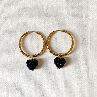 Heart Blue Goldstone Golden L