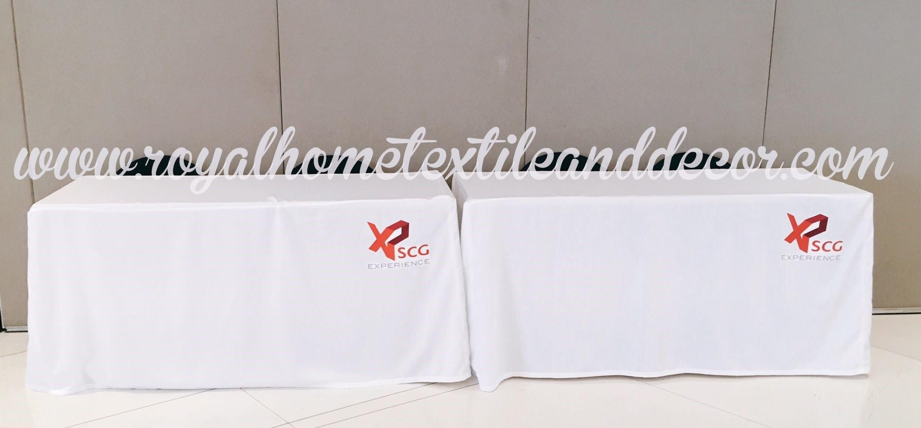 ผ้าปูโต๊ะ/ผ้าคลุมโต๊ะ เข้ารูป สกรีนโลโก้