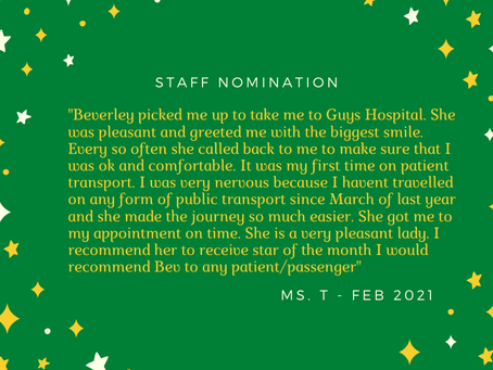Staff nomination for Star of the Month