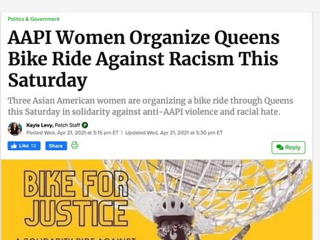 PATCH: AAPI women organize queens bike ride against racism this Saturday