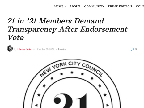 Queens county politics: 21 in '21 Members Demand Transparency After Endorsement Vote