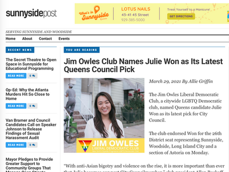Sunnyside post: Jim Owles Club Names Julie Won as Its Latest Queens Council Pick