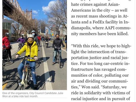 SUNNYSIDE POST: AAPI Women Organize Bike Ride Through Western Queens Against Racist Violence