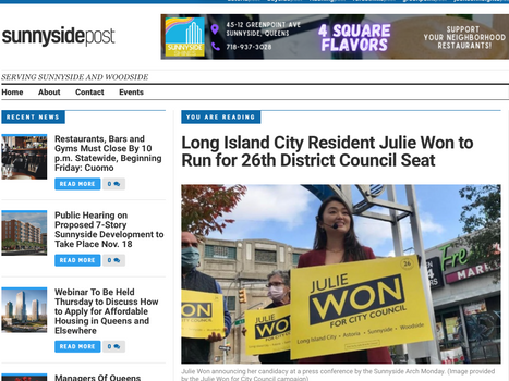Sunnyside post: Long Island City Resident Julie Won to Run for 26th District Council Seat