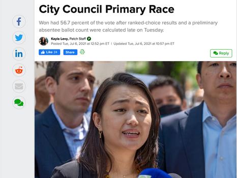 Patch: Julie Won Wins LIC's 26th District City Council Primary Race