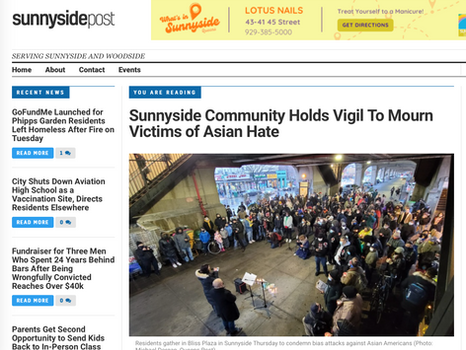 Sunnyside Post: Community Holds Vigil To Mourn Victims of Asian Hate