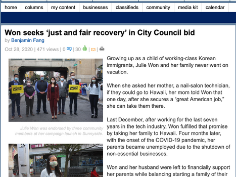 LIC/Astoria Journal: Won seeks 'just and fair recovery' in City Council bid
