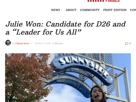 """Queens County Politics: Julie Won: Candidate for D26 and a """"Leader for Us All"""""""