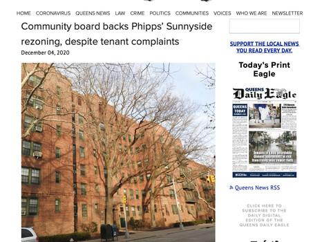 Queens Daily eagle: Community board backs Phipps' Sunnyside rezoning, despite tenant complaints