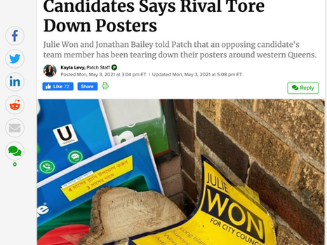 Patch: Astoria, LIC City Council Candidates Says Rival Tore Down Posters