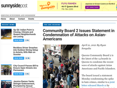 SUNNYSIDE POST: Community board 2 issues statement in condemnation of attacks on asian-americans