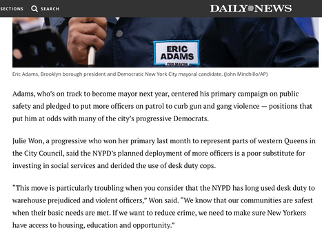Daily News: Eric Adams praises NYPD for pulling 300 officers off desk duty to curb gun violence
