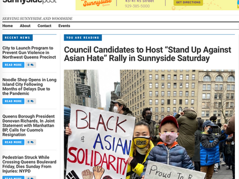 "SUNNYSIDE POST: Council candidates to host, ""stand up against asian hate"" rally in sunnyside"