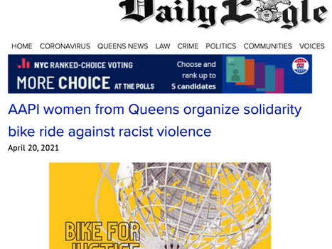 QUEENS DAILY EAGLE: AAPI women from Queens organize solidarity ride against racist violence