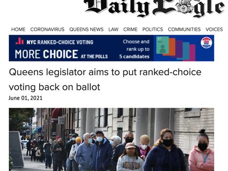 Queens daily eagle: Queens Legislators aims to put RCV back on ballot