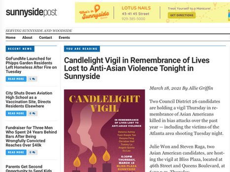 Sunnyside Post: Candlelight Vigil in Remembrance of Lives Lost to Anti-Asian Violence Tonight