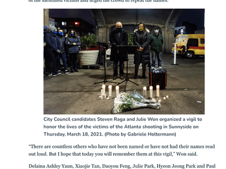 QNS: Sunnyside City Council candidates organize vigil for victims of Atlanta shooting