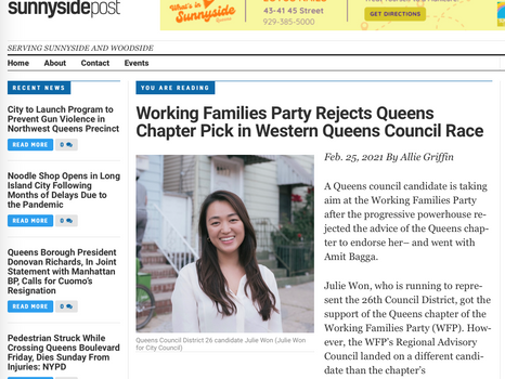 SUNNYSIDE POST: Working families party rejects Queens Chapter pick in western queens council race