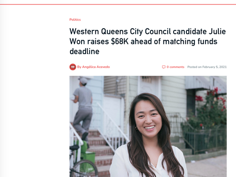 Western Queens City Council candidate Julie Won raises $68k ahead of matching funds deadline