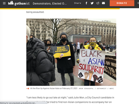gothamist: Demonstrators, elected officials rally after surge in anti-asian hate and violence