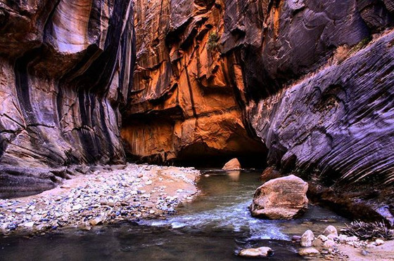 hiking through freezing water in #zion__