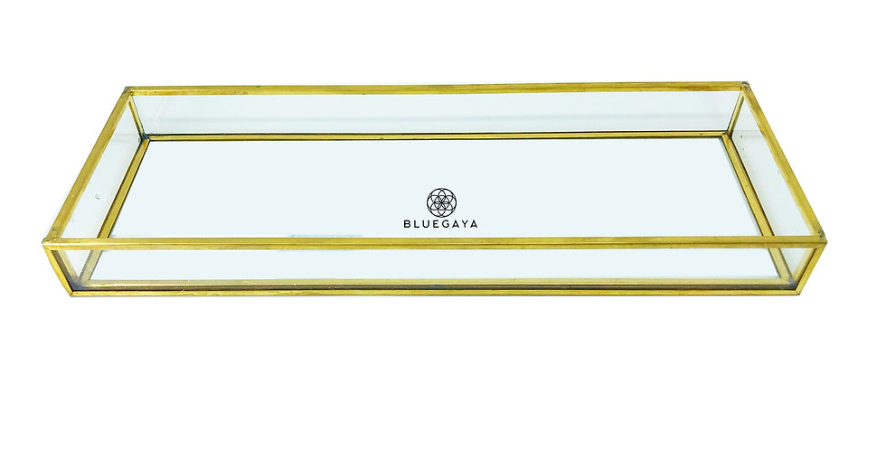 Bandeja Vidro Retangular P Porta-joias Dourada Bluegaya