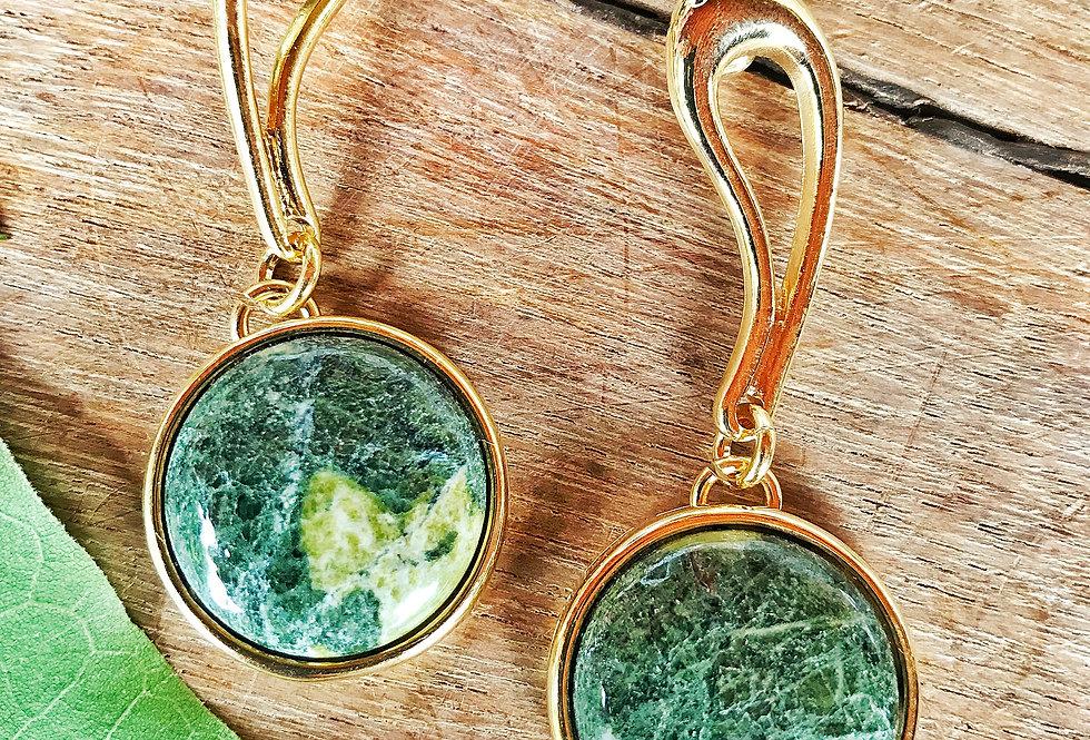 Coleção Circle Brinco Dourado de Jade Nefrita Joia Terapêutica by Bluegaya