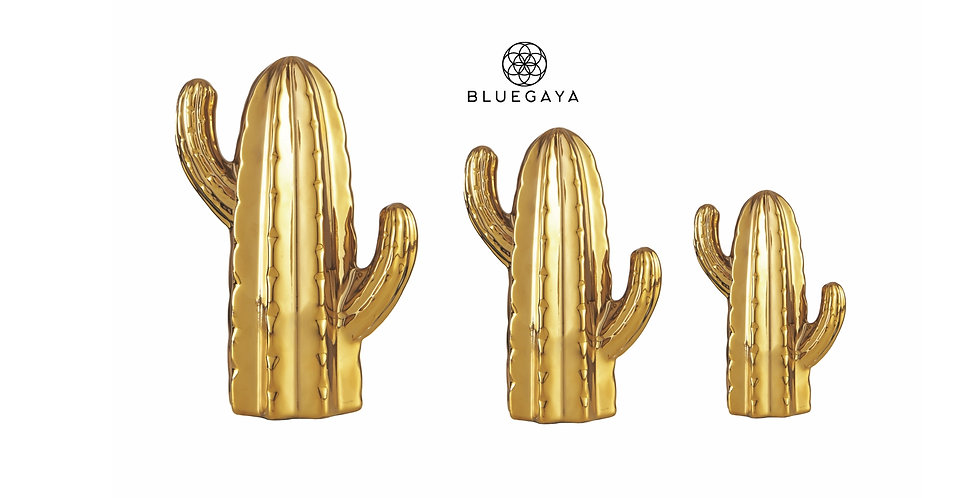 Kit Conjunto 3 Cactos Decorativos Cerâmica Dourados Bluegaya