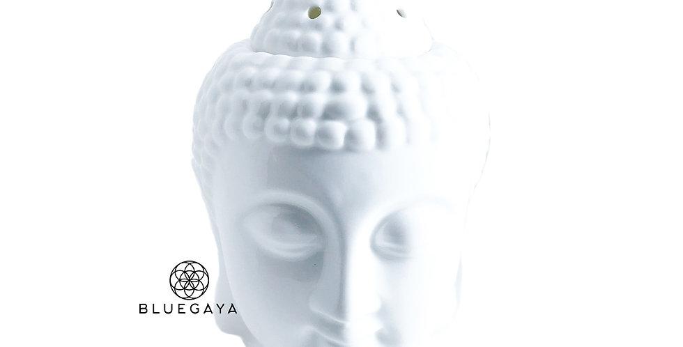 Rechaud Difusor Aromatizador Cabeça de Buda em Cerâmica Branco Bluegaya