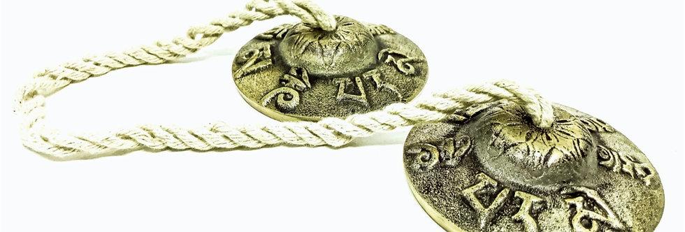 Címbalos Tibetanos (Tingsha / Manjira) de Bronze com cordão