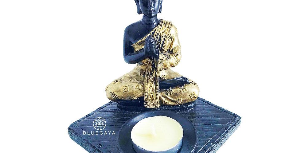 Buda 3 em 1 Escultura Porta-Incenso Porta-Vela P Bluegaya