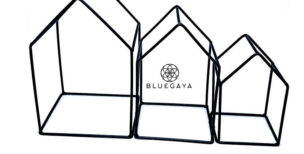 Kit 3 Casinhas Metal Pretas Bluegaya