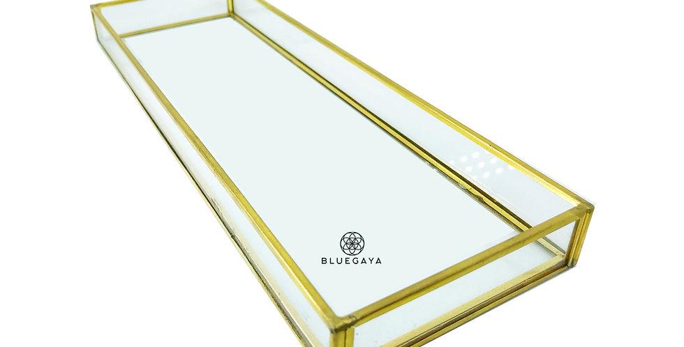 Bandeja Vidro Retangular M Porta-joias Dourada Bluegaya