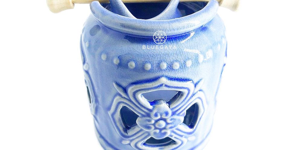 Rechaud Difusor Aromatizador Chinês em Cerâmica Azul Bluegay