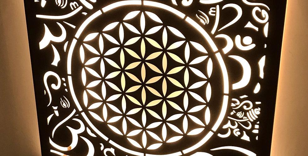 Quadro Mandala Aço Corten Iluminado