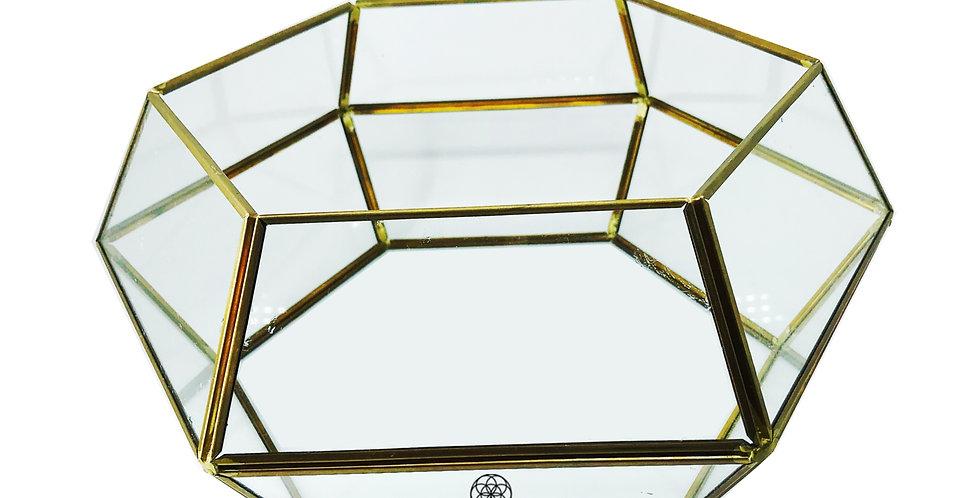 Terrario Hexagonal G Vidro e Metal Dourado Bluegaya