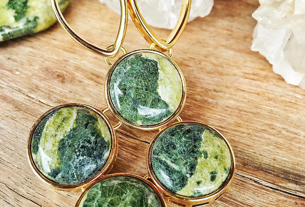 Coleção Circle Colar Dourado Jade Nefrita Joia Terapêutica by Bluegaya