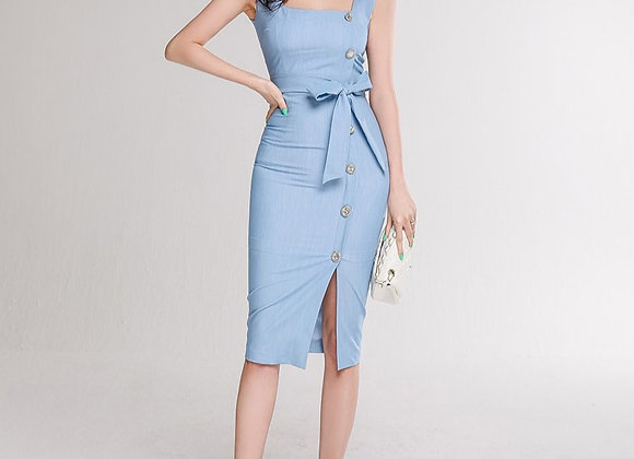Sophia Tie Bodycon Dress In Baby Blue