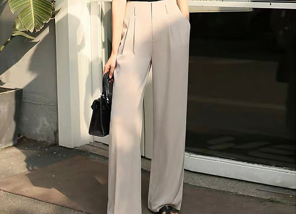 High Waisted Straight Leg Pants In Beige
