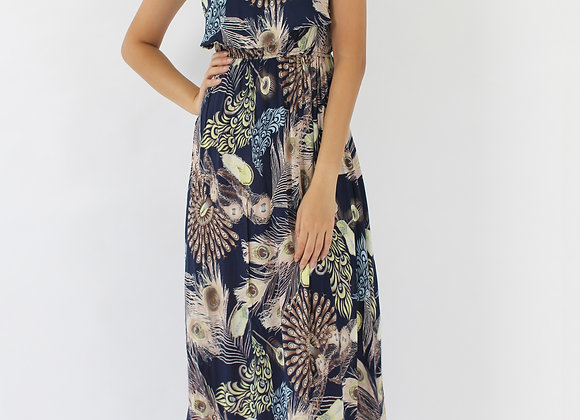 Peafowl Feather Maxi Dress