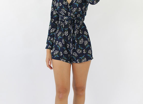 Maurie Blossom Romper In Blue